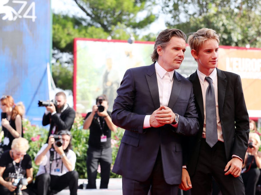 Ethan Hawke and Levon Roan Thurman-Hawke walk the red carpet ahead of the 'First Reformed' screening during the 74th Venice Film Festival at Sala Grande on August 31, 2017 in Venice, Italy.