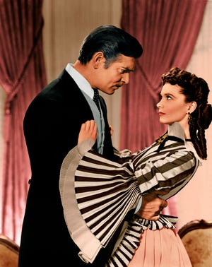 """Clark Gable and Vivien Leigh in a scene from the 1939 motion picture """"Gone with the Wind."""""""
