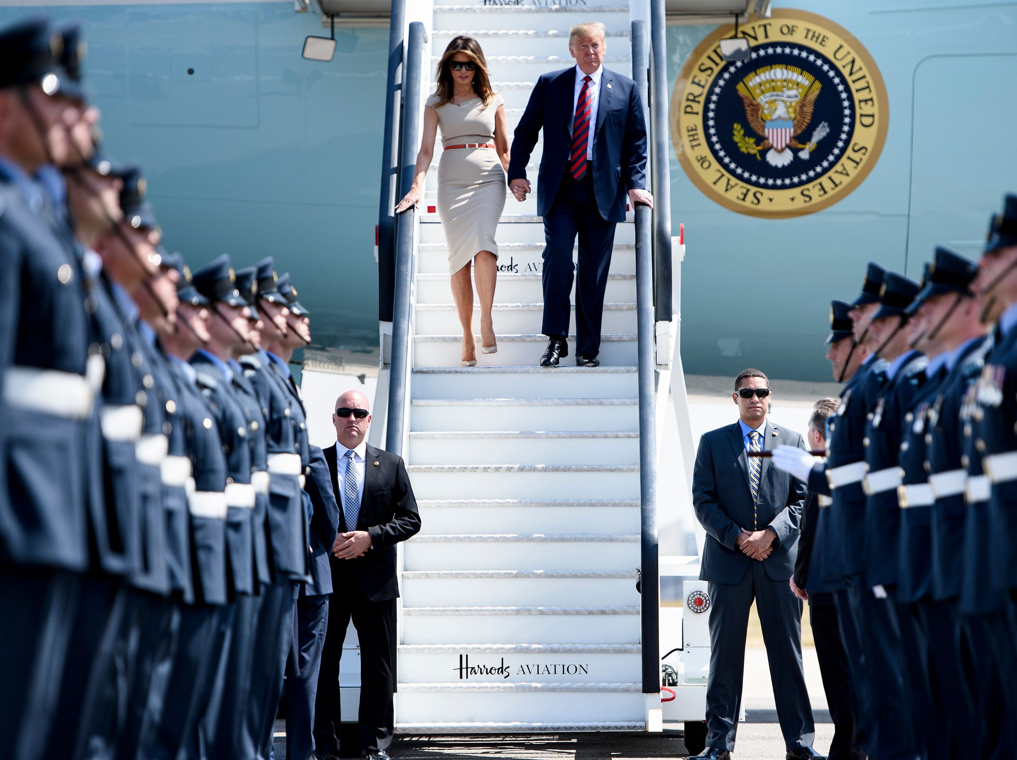 President Trump and First Lady Melania Trump disembark Air Force One at Stansted Airport, north of London on July 12, 2018, as he begins his first visit to the United Kingdom as president.