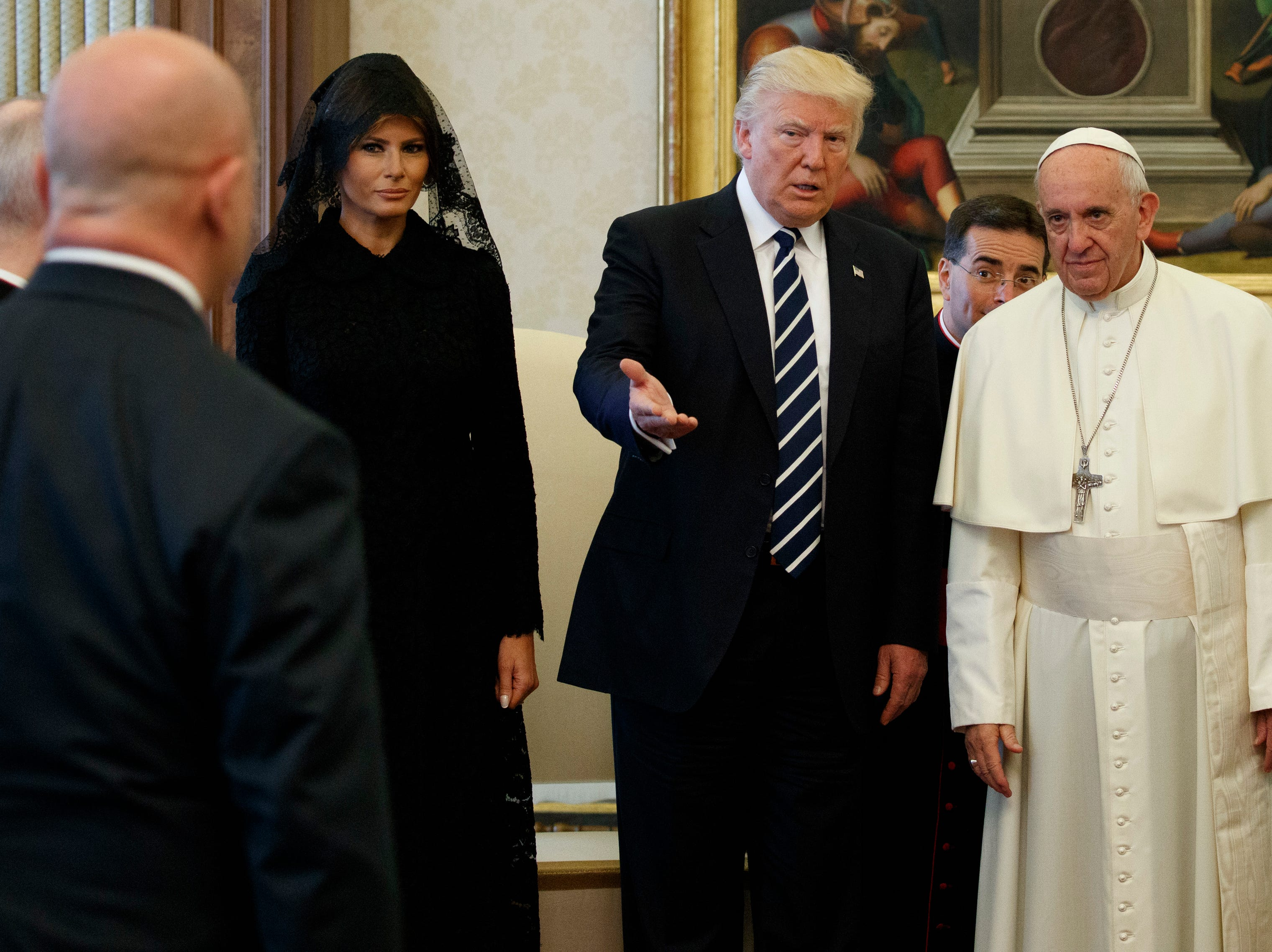 First Lady Melania Trump looks on as President Trump introduces National Security Adviser H.R. McMaster to Pope Francis on May 24, 2017, at the Vatican. (