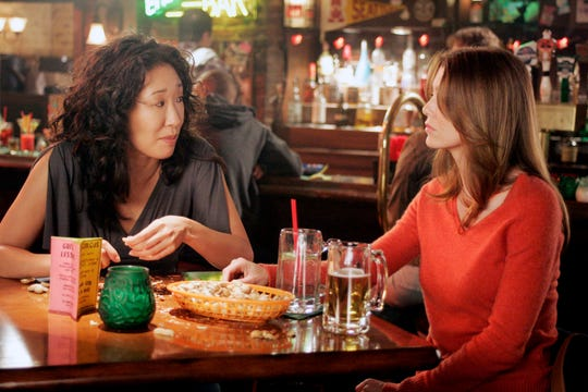"""Sandra Oh and Ellen Pompeo shared 10 seasons on """"Grey's Anatomy"""" before Oh left in 2014. She currently stars in the BBC America series """"Killing Eve."""""""
