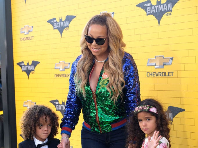 Singer Mariah Carey and children Morrocco and Monroe attend the Los Angeles premiere of The Lego Batman Movie at the Regency Village Theatre in Westwood, California, on February 4, 2017.