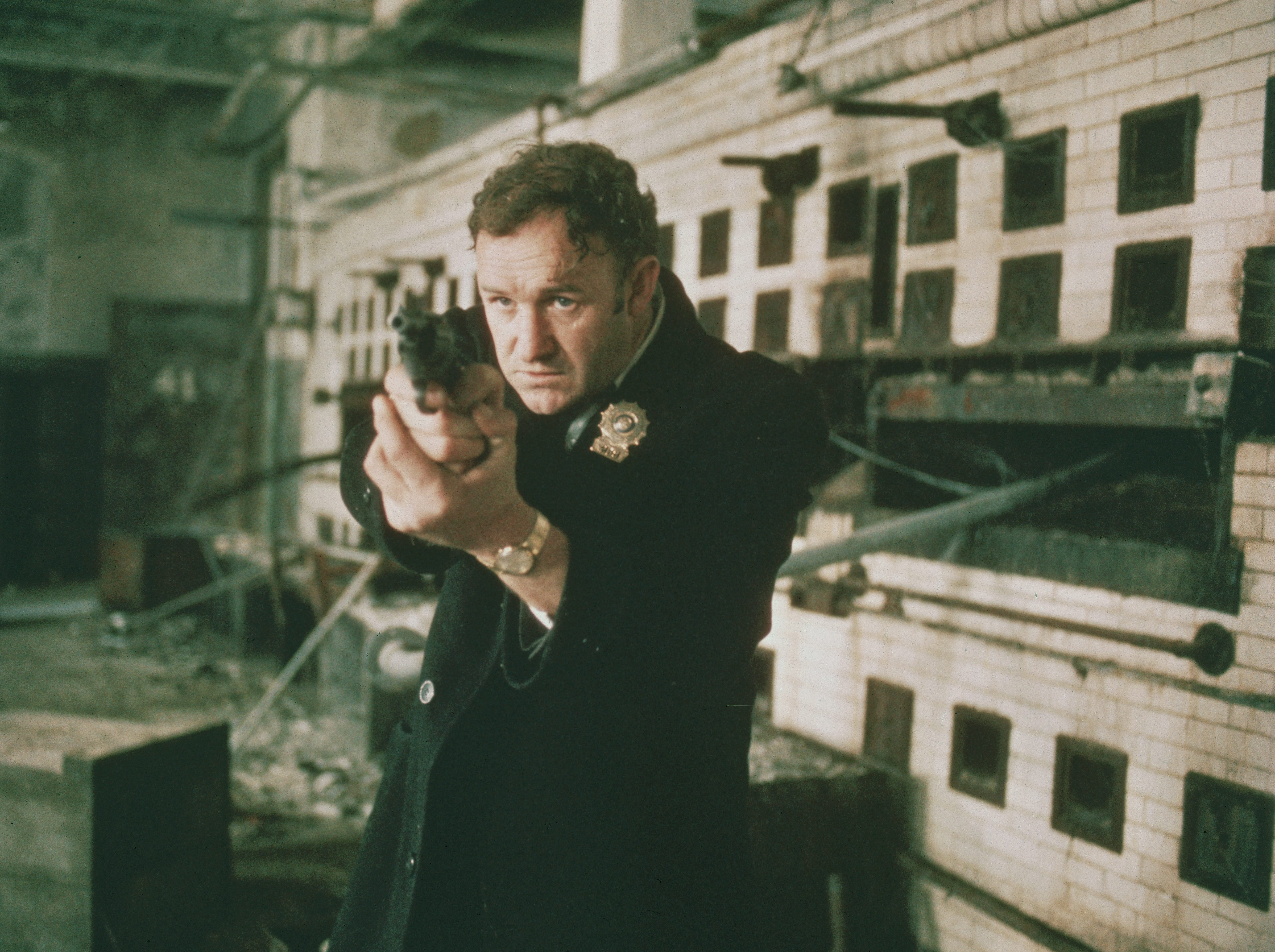 ONE TIME USE 2/21/2019 1971, Gene Hackman as Detective Jimmy 'Popeye' Doyle points his handgun in a still from the film 'The French Connection' directed by William Friedkin. (Photo by 20th Century Fox/Getty Images)