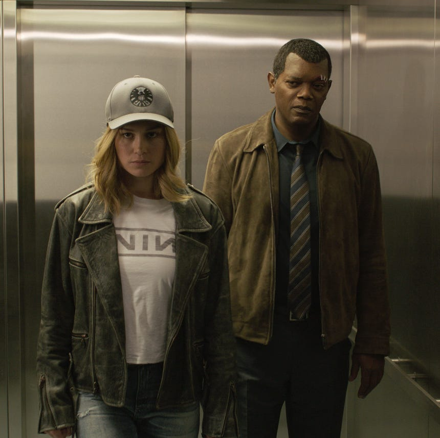 Marvel Studios' CAPTAIN MARVEL  L to R: Captain Marvel (Brie Larson) and Nick Fury (Samuel L. Jackson)
