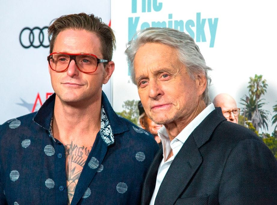 "Actor Michael Douglas (R) and son Cameron Douglas attend the AFI Fest world premiere of ""The Kominsky Method"" on November 10, 2018 in the Hollywood."