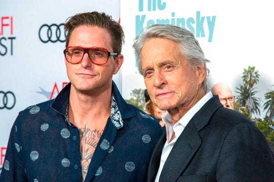 """Actor Michael Douglas (R) and son Cameron Douglas attend the AFI Fest world premiere of """"The Kominsky Method"""" on November 10, 2018 in the Hollywood."""