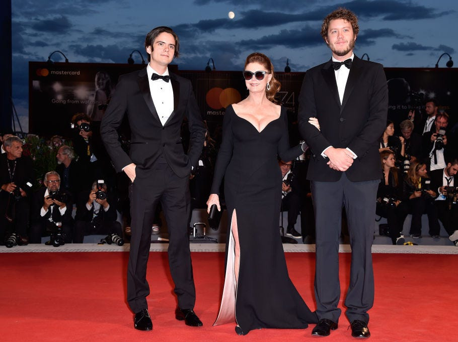 Miles Robbins, Susan Sarandon and Jack Henry Robbins walk the red carpet ahead of the 'The Leisure Seeker (Ella & John)' screening during the 74th Venice Film Festival at Sala Grande on September 3, 2017 in Venice, Italy.
