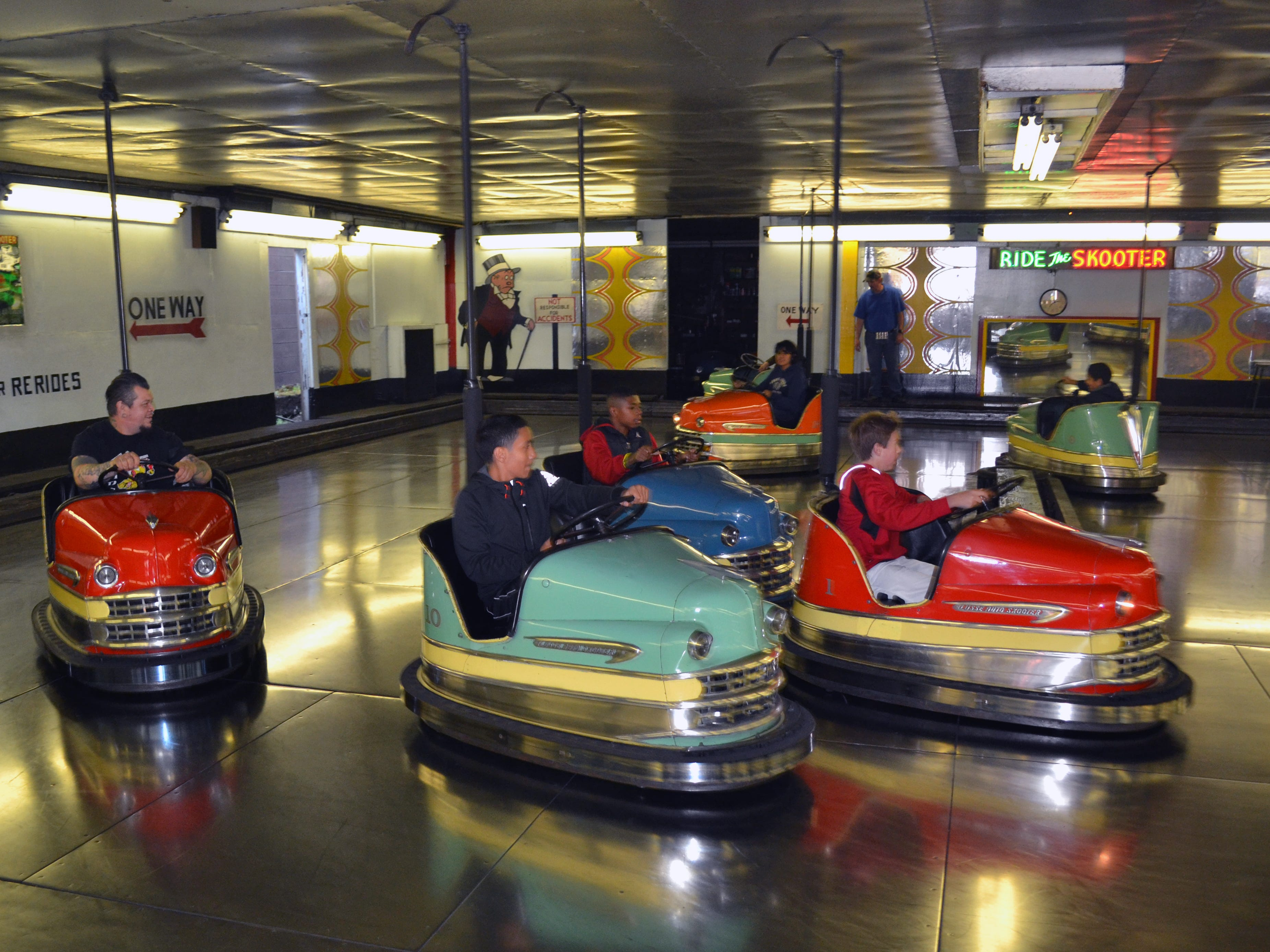 The tiny Interstate Amusement in Seaside, Oregon, maintains a fleet of sharp-looking Lusse cars.