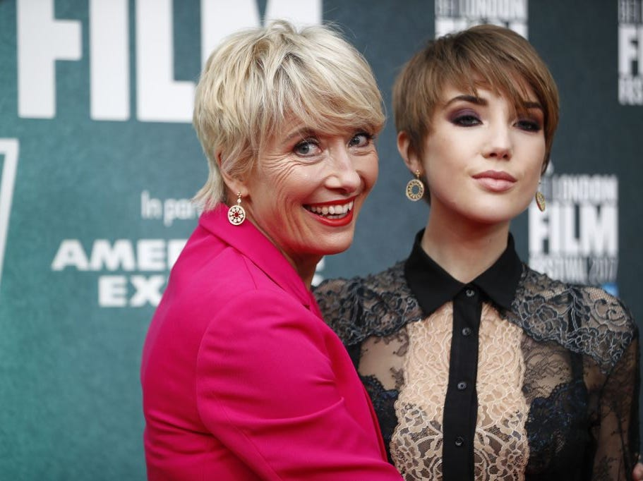 "British actress Emma Thompson and her daughter Gaia Romilly Wise pose at the UK premiere of ""The Meyerowitz Stories"" during the BFI London Film Festival in London on October 6, 2017."