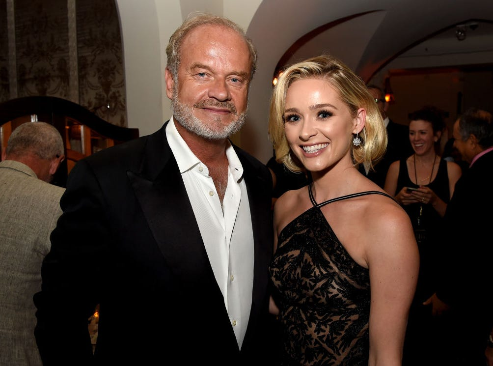 "Actor Kelsey Grammer and his daughter Greer Grammer pose at the after party for the premiere of Amazon Studios' ""The Last Tycoon"" at the Chateau Marmont in West Hollywood, California."