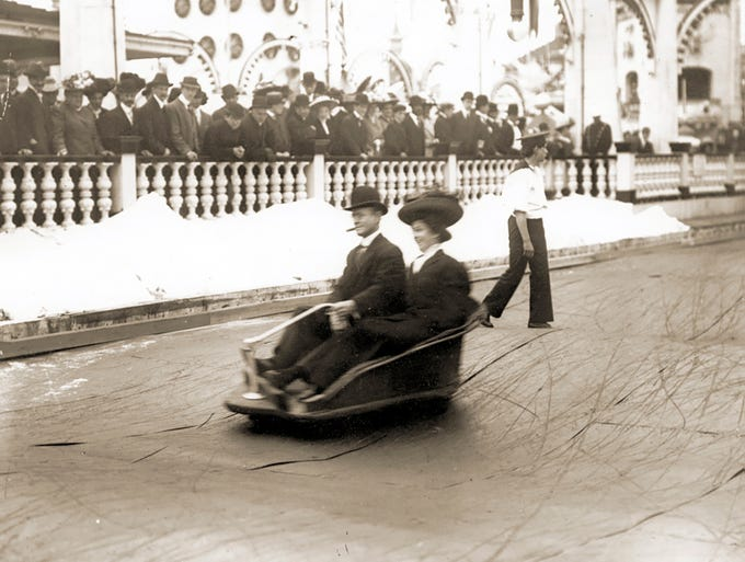 One of the first bumper car rides may have been the Witching Waves at Coney Island's Luna Park.