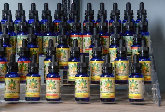 CBD Oil Tincture bottles on the rack at Your CBD Store Anderson on Clemson Boulevard, opening Monday, February 25. The use of the CBD (Cannabidiol) is what some use legally from cannabis plants for ailments including anxiety, seizures and pain, said owner Alison Sheppard.