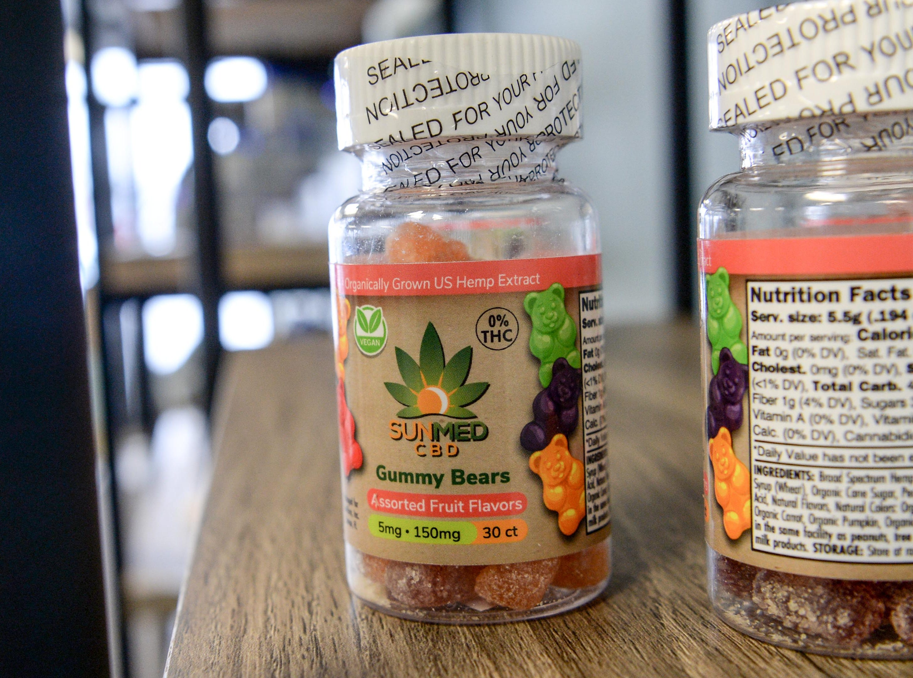 A bottle of gummy bears with organically grown U.S. Hemp extract with no THC (tetrahydrocannabinol) at Your CBD Store Anderson on Clemson Boulevard, which opens Monday, February 25. The use of the CBD (Cannabidiol) is what some use legally from cannabis plants for ailments including anxiety, seizures and pain, said store owner Alison Sheppard.