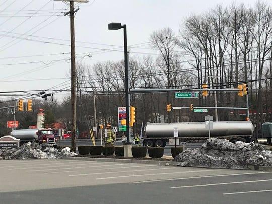 Overturned tanker truck on Route 9 in Marlboro.