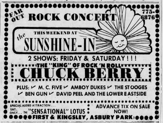 Asbury Park Press ad for Chuck Berry at the Sunshine In