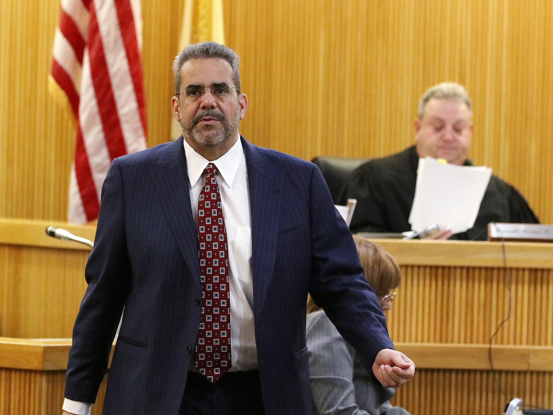 Carlos Diaz-Cobo, defense attorney, amends the language in the judge's charge to the jury before closing statements during the trial of Liam McAtasney, who is charged with the murder of former high school classmate, Sarah Stern, before Superior Court Judge Richard W. English at the Monmouth County Courthouse in Freehold, NJ Friday, February 22, 2019.