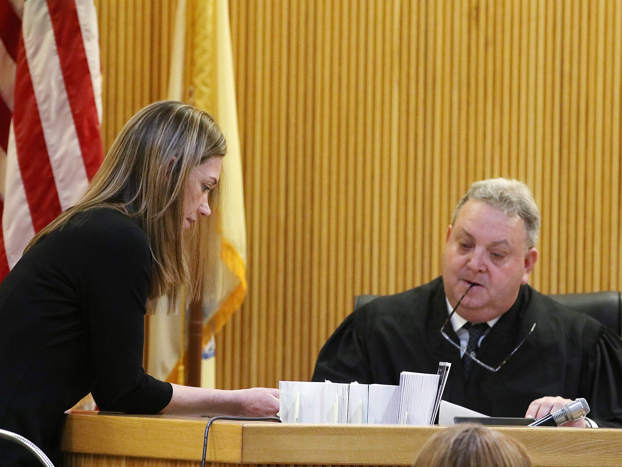 Meghan Doyle, assistant Monmouth County prosecutor, amends the language in the judge's charge to the jury before closing statements during the trial of Liam McAtasney, who is charged with the murder of former high school classmate, Sarah Stern, before Superior Court Judge Richard W. English at the Monmouth County Courthouse in Freehold, NJ Friday, February 22, 2019.