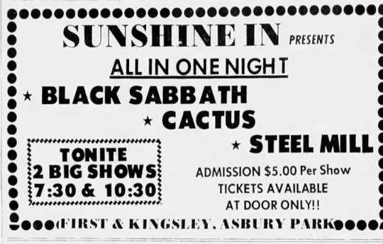 Ad for Black Sabbath at the Sunshine In
