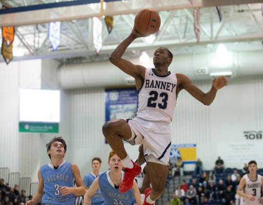 Ranney's Scottie Lewis goes up with a shot off a fast break during first half action. Ranney Boys Basketball vs Freehold Township in Shore Conference Semifinal game in Toms River,  NJ. on February 21, 2019.