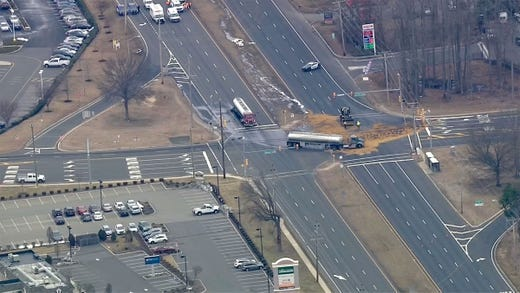 Major highway closed after tanker crash spills 6,000 gallons of fuel in New Jersey