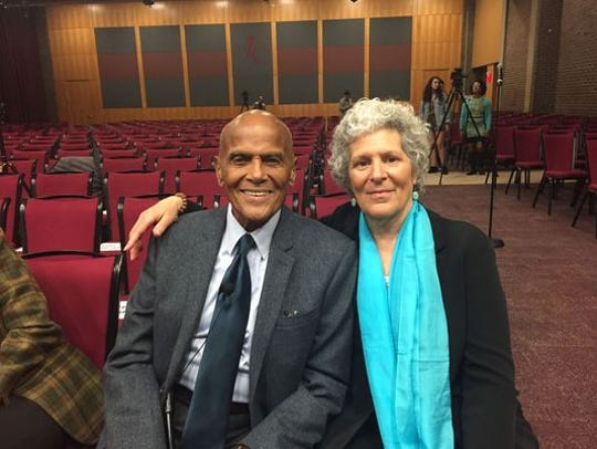 Susan Robeson (right) with Harry Belafonte at Rutgers' Paul Robeson Lecture Series in 2017.