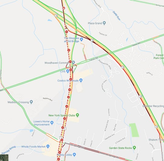 This Google traffic map shows the area near where two fuel tankers crashed on Route 9 in Marlboro.