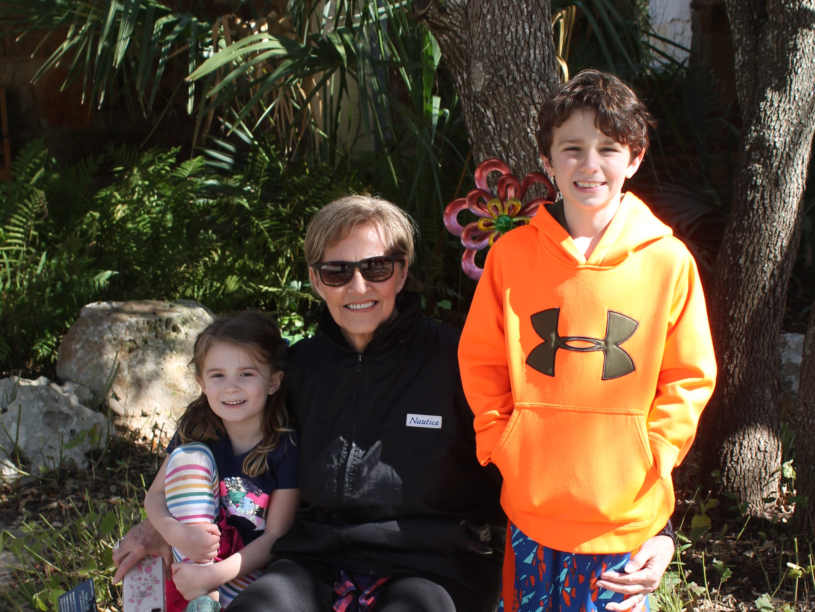 Dolores Compere of Baird visits the Lady Bird Johnson Wildflower Center with her grandchildren Sadie Belle and Dylan Compere of Austin.