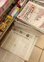 A New York City newsstand, circa 2007.