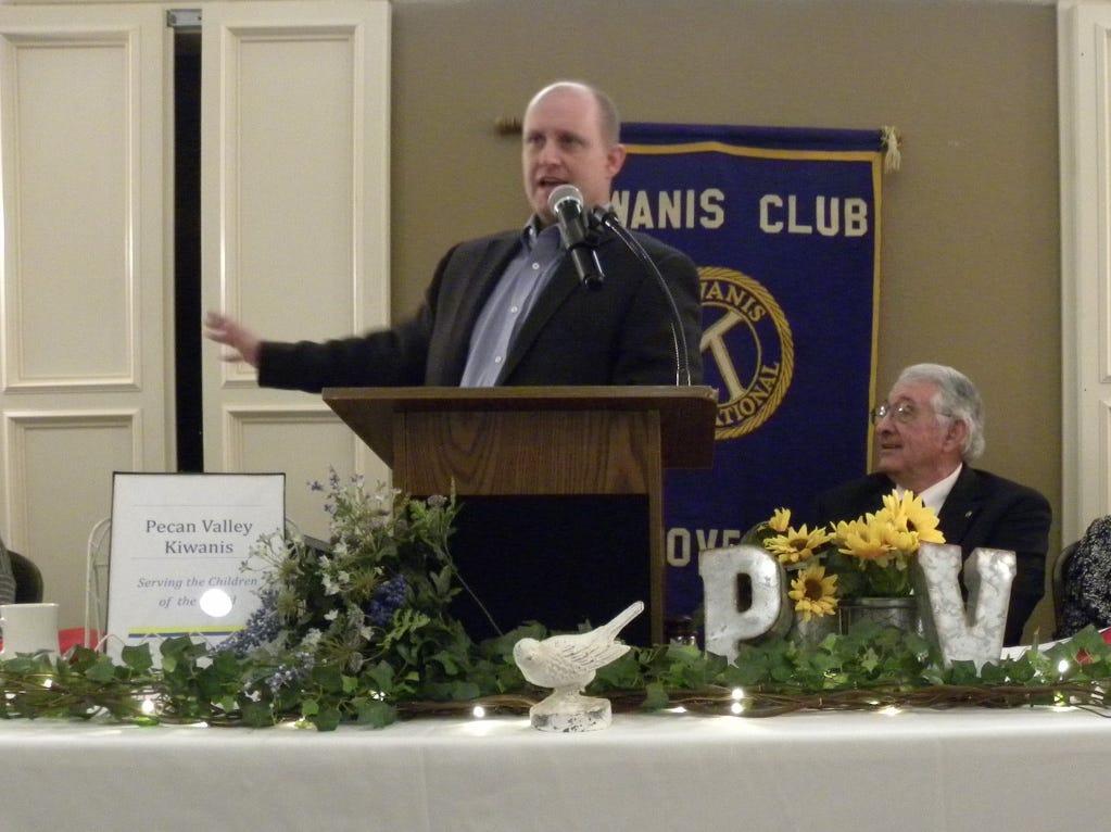 Brownwood mayor Stephen Haynes speaks to the Pecan Valley Kiwanis Club at the group's Sweethearts Awards Banquet on Feb. 15.