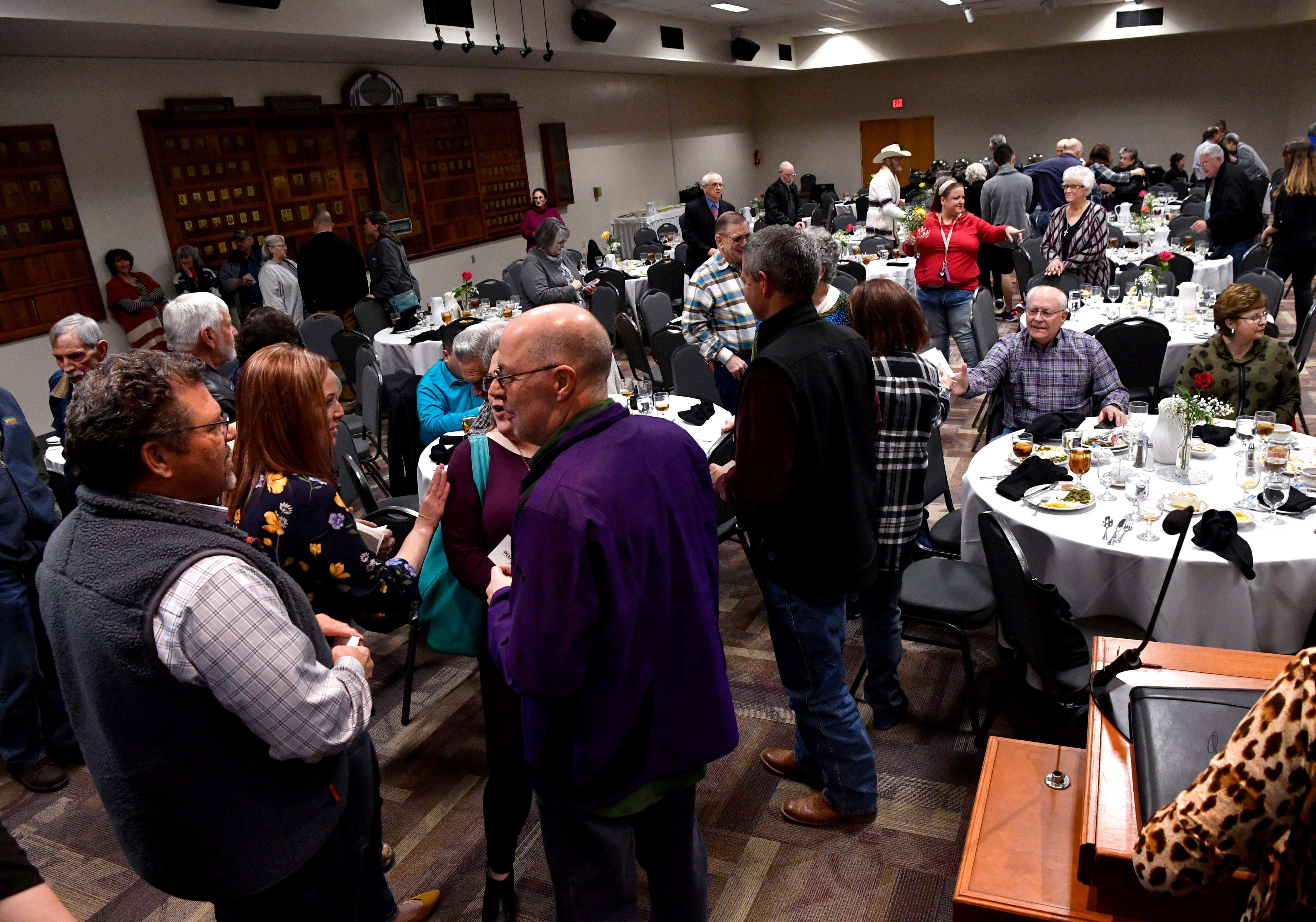Attendees mingle at Thursday's recognition dinner at McMurry University. Hendrick Regional Blood Center honored donors who have given 5 gallons or more
