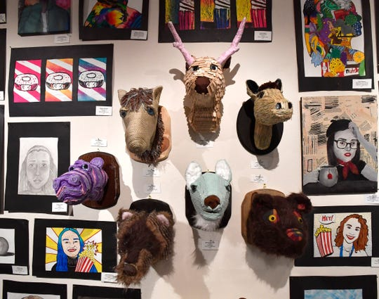 "Mixed media ""mounts"" by Wylie Junior High student Hollie Garza at Thursday's student art exhibit at The Grace Museum."