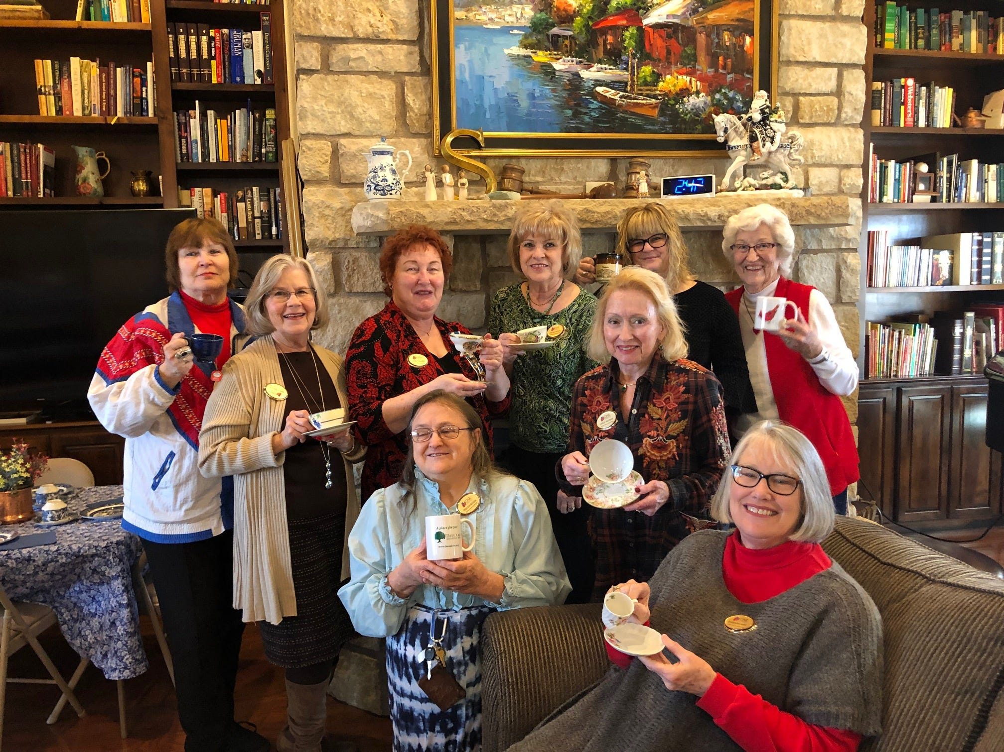 Members of the John Davis Chapter of the Daughters of the American Revolution discussed their historic tea cups at their annual Presidents Day Tea. Standing, from left: Nancy Masters, Nancy Brock, Cody Allen, Cindy Fisher, Amy Allen and Mary Stanley. Kneeling: Freda Meggison and Carol Hickman. Seated: Barbara Hart.