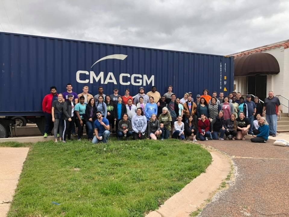 On Feb. 2 approximately 70 people from Abilene, Abilene Christian University and Cisco College helped the Zambia Mission Fund load a container to ship to Zambia for use during the Zambia Medical Mission in July.