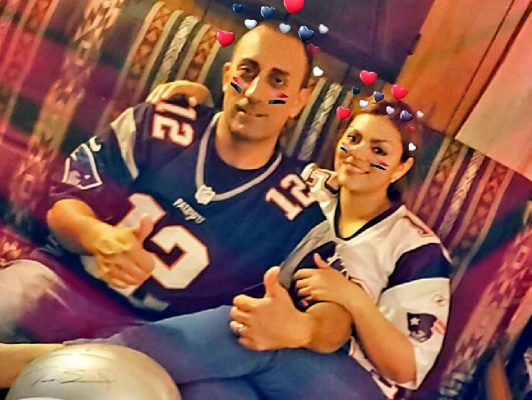 Joey and Belinda Rocha celebrate the New England Patriots' Superbowl victory.