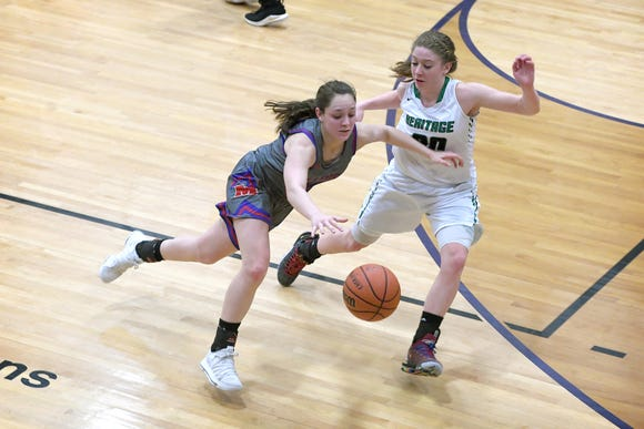 Madison's Hannah Chandler dribbles around Mountain Heritage's Presley Peterson during the third quarter of the Western Highlands Conference tournament semi-final game at Mitchell High School on Feb. 21, 2019. Mountain Heritage defeated Madison 49-36.