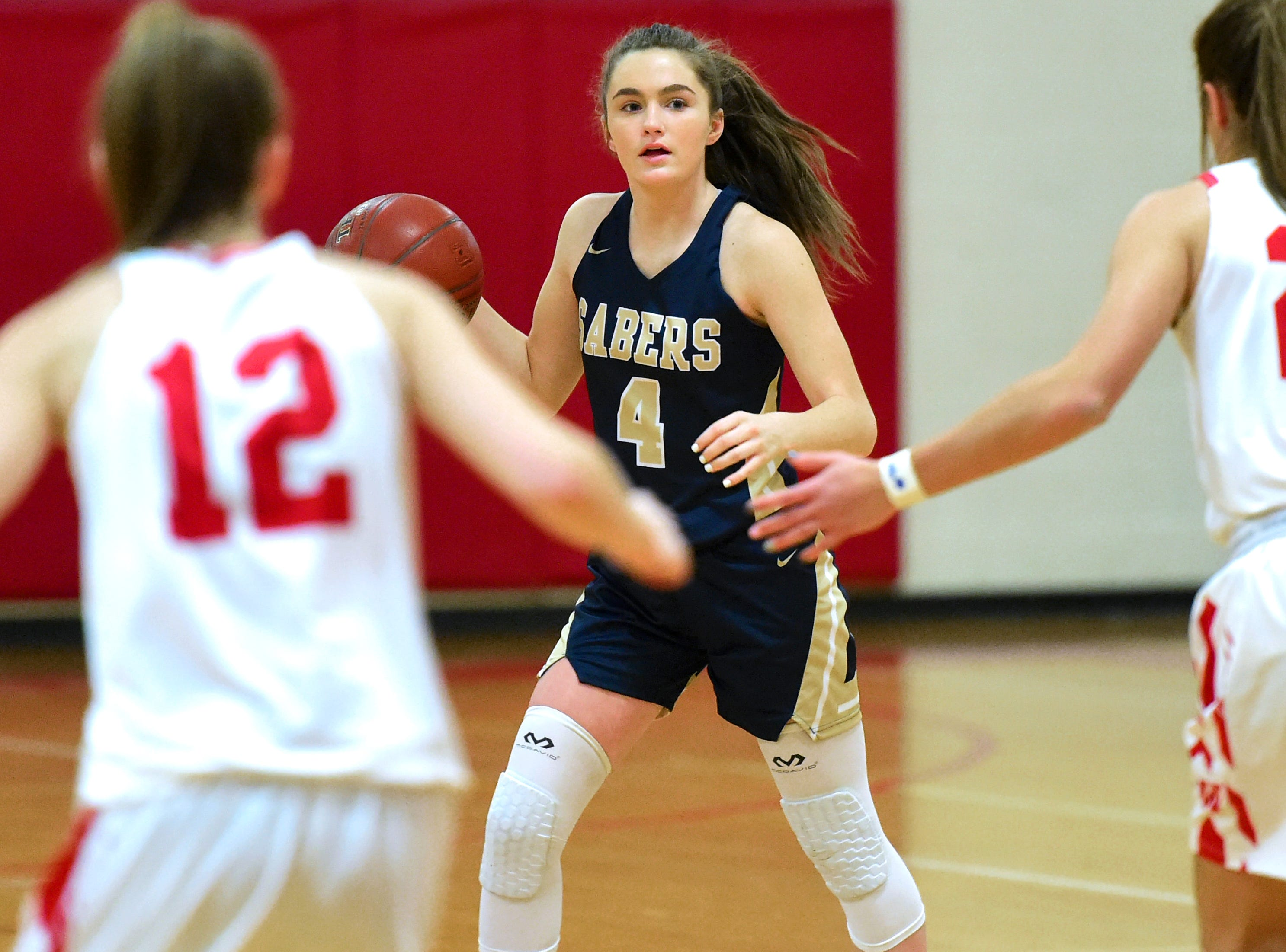 Susquehanna Valley's Sophie Keehle (4) looks to get past the Waverly defense during the first period of action as Waverly hosted SV for the Section 4 Class B girls basketball playoffs. February 21, 2019.