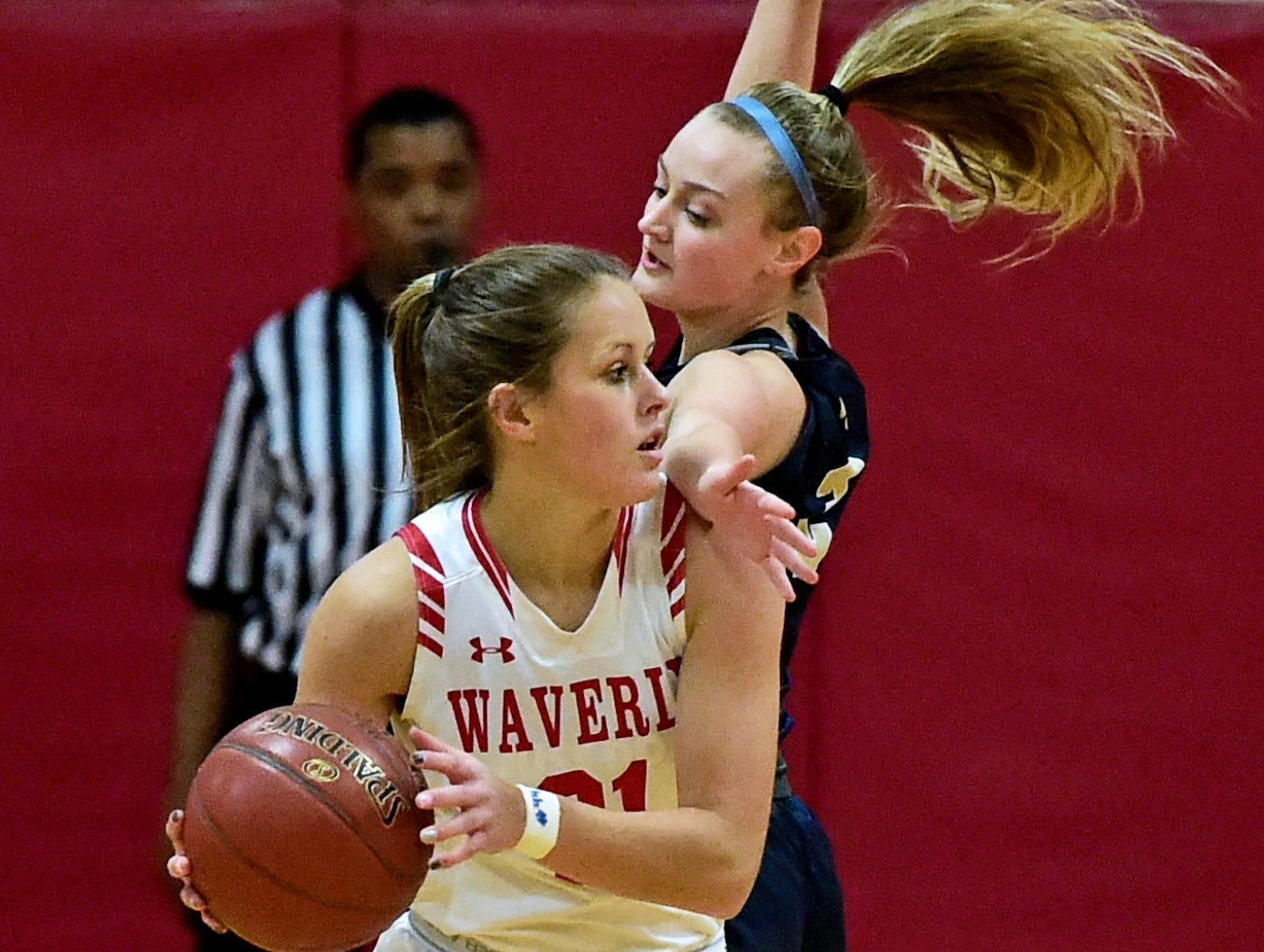 Waverly's Wendie Hammond (21) looks to get past Susquehanna Valley's Brooke Ryder (2) during the Section 4 Class B girls basketball playoffs at Waverly. February 21, 2019.