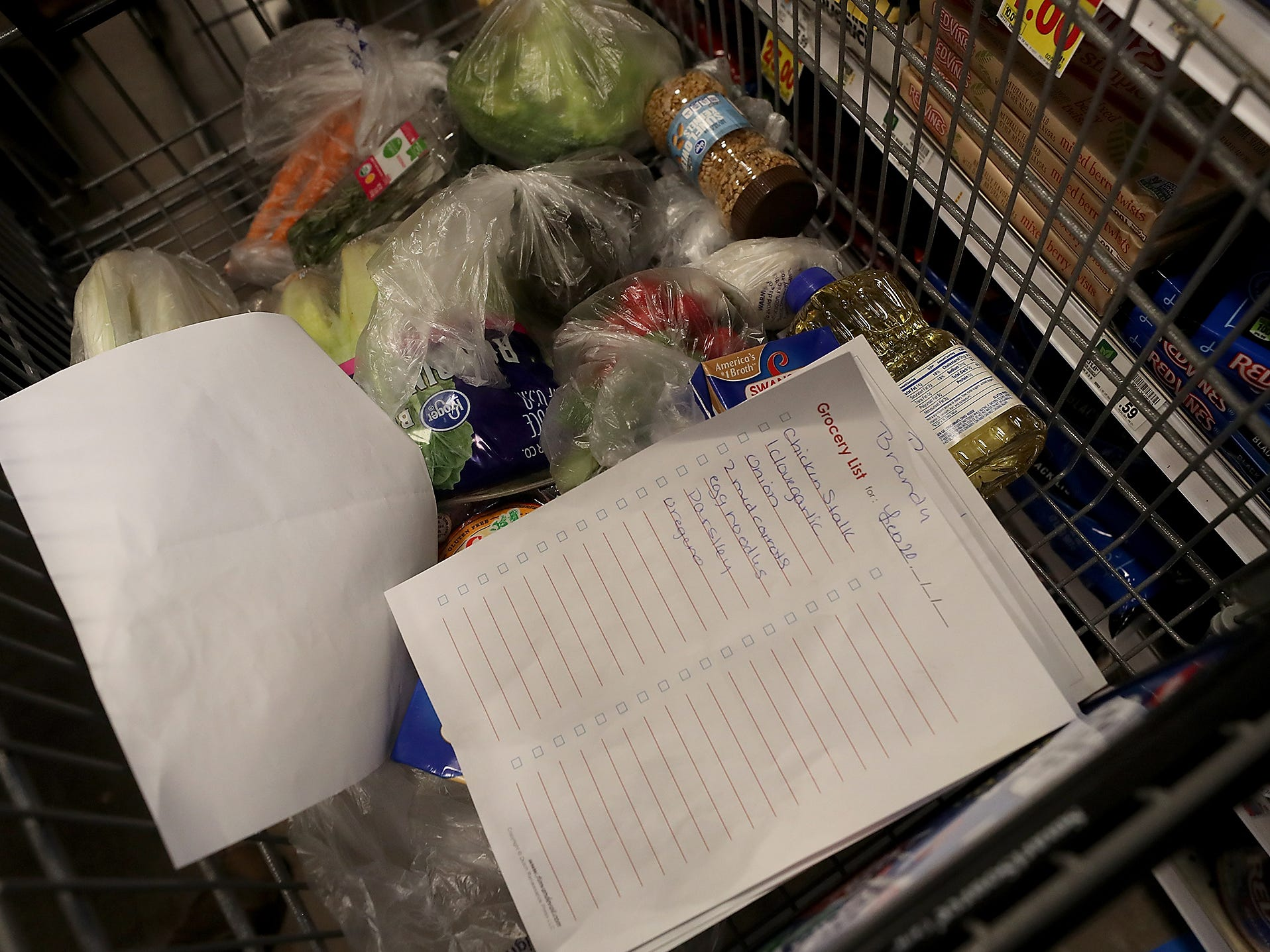 Brandy Mathews grocery list sit sin her cart at Fred Meyer in Bremerton on Wednesday, February 20, 2019.