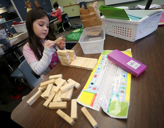 First-grader Leah Fearn, 6, reads the words on the blocks as she creates a structure with them during class at Suquamish Elementary on Thursday. The North Kitsap School District says it will face a funding shortfall in the 2019-2020 school year despite efforts by the Legislature to fix school funding challenges. A bill in the Senate would allow for districts to seek higher local levies to fix the shortfall.