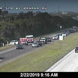 Lanes clear after crash on S.R. 528 on Merritt Island