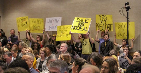 Students attended the emergency meeting where UCF Board of Trustees considered President Dale Whittaker's resignation. Students urged trustees to reject his resignation; however, the board voted 7-3 to accept it.