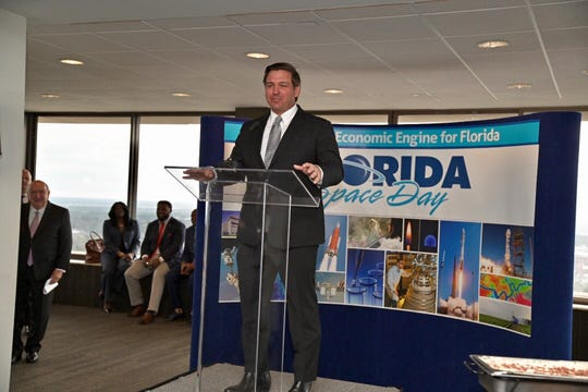 Gov. Ron DeSantis speaks during a Florida Space Day event in Tallahassee.