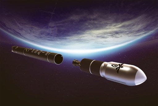 Artist rendering showing the stages of a Firefly Alpha rocket separating above Earth.  - 9fc045b8 0ea9 4368 9e33 976b79575368 firefly alpha over earth - SpaceX and Blue Origin only two of the companies seeking new Space Age