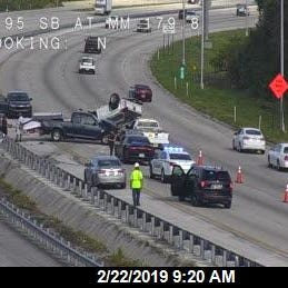 Rollover crash on I-95 near Melbourne closed northbound lanes for hours