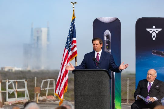 Florida Gov. Rick DeSantis speaks during the Friday, Feb. 22, 2019 announcement that Firefly has chosen Cape Canaveral to launch its Alpha and Beta rockets. In the background, United Launch Alliance's Launch Complex 37 is seen.