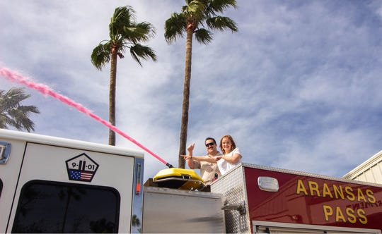 Aransas Pass firefighter Kyle Thompson and his wife held a fire truck-themed gender reveal at the Aransas Pass Fire Department Saturday, Feb. 16, 2019.