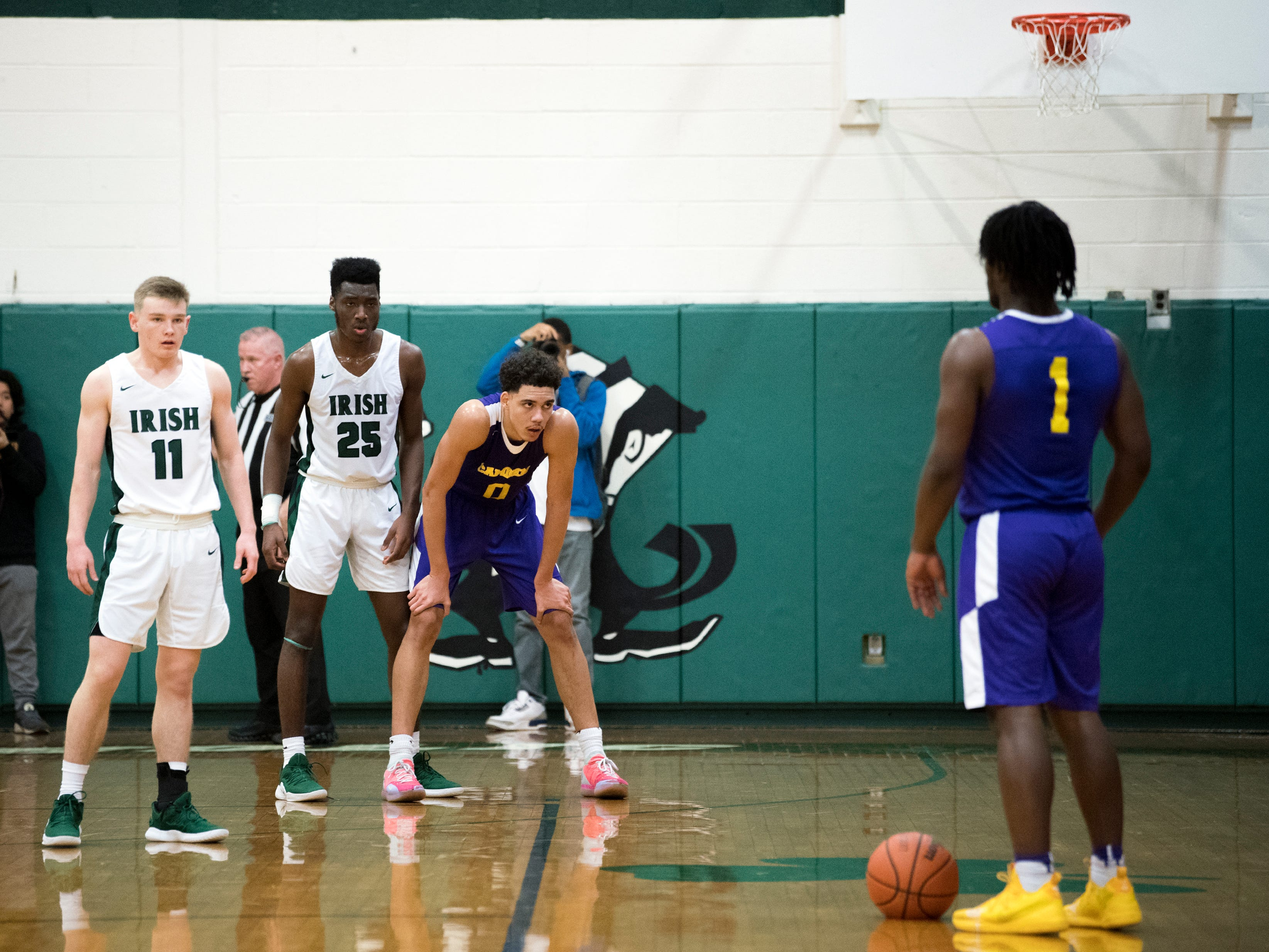 Camden's Ethan Tarte (1) dribbles before making a play against Camden Catholic Thursday, Feb. 21, 2019 at Camden Catholic High School in Cherry Hill, N.J. Camden Catholic won 57-54.