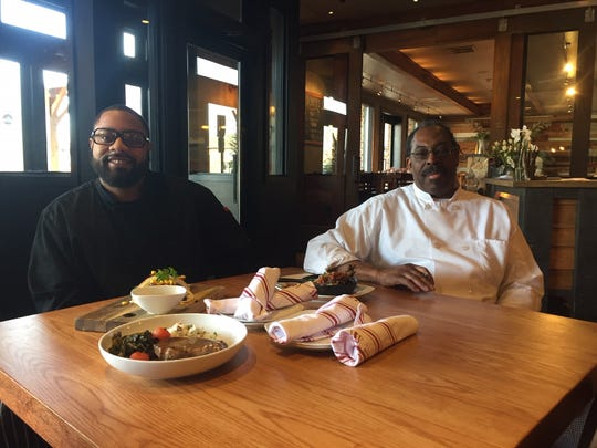 Chefs Terrick Hubbard, left, and Robert L. Pratt helped create the Black History Month menu for Keg & Kitchen's February promotion. They share the kitchen with Chef Gardner Wilson, not pictured.
