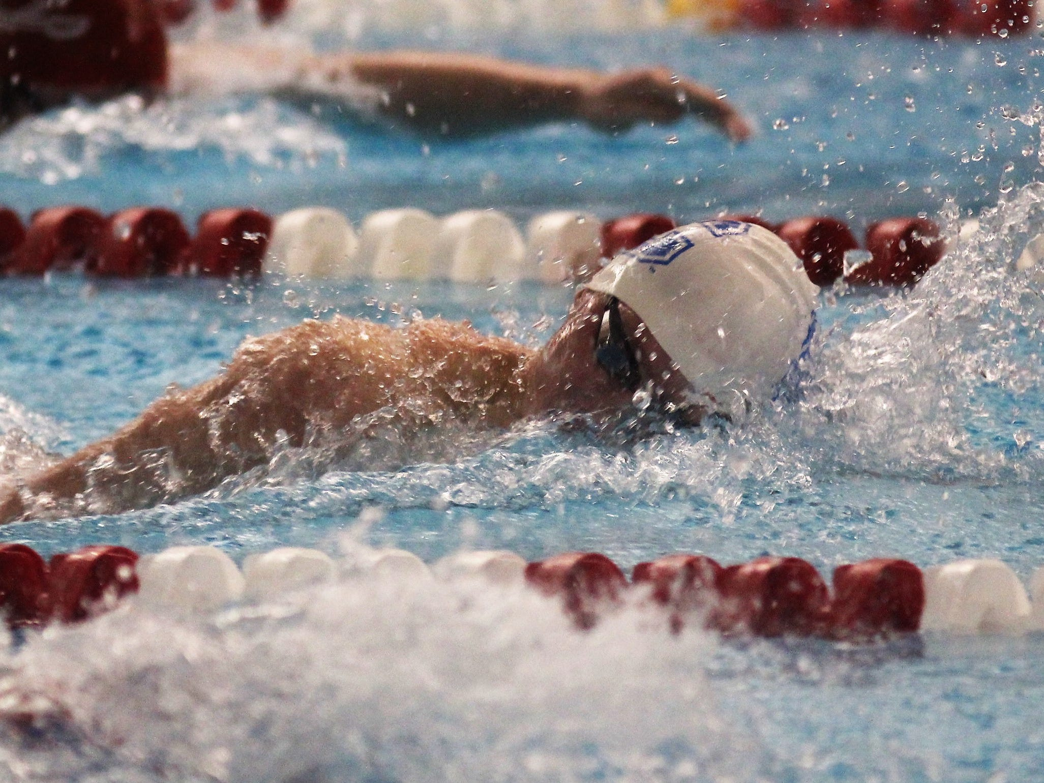 CovCath senior Patrick Merse in the 200 freestyle during the KHSAA state boys swimming and diving championship Feb. 22, 2019 at the University of Louisville.