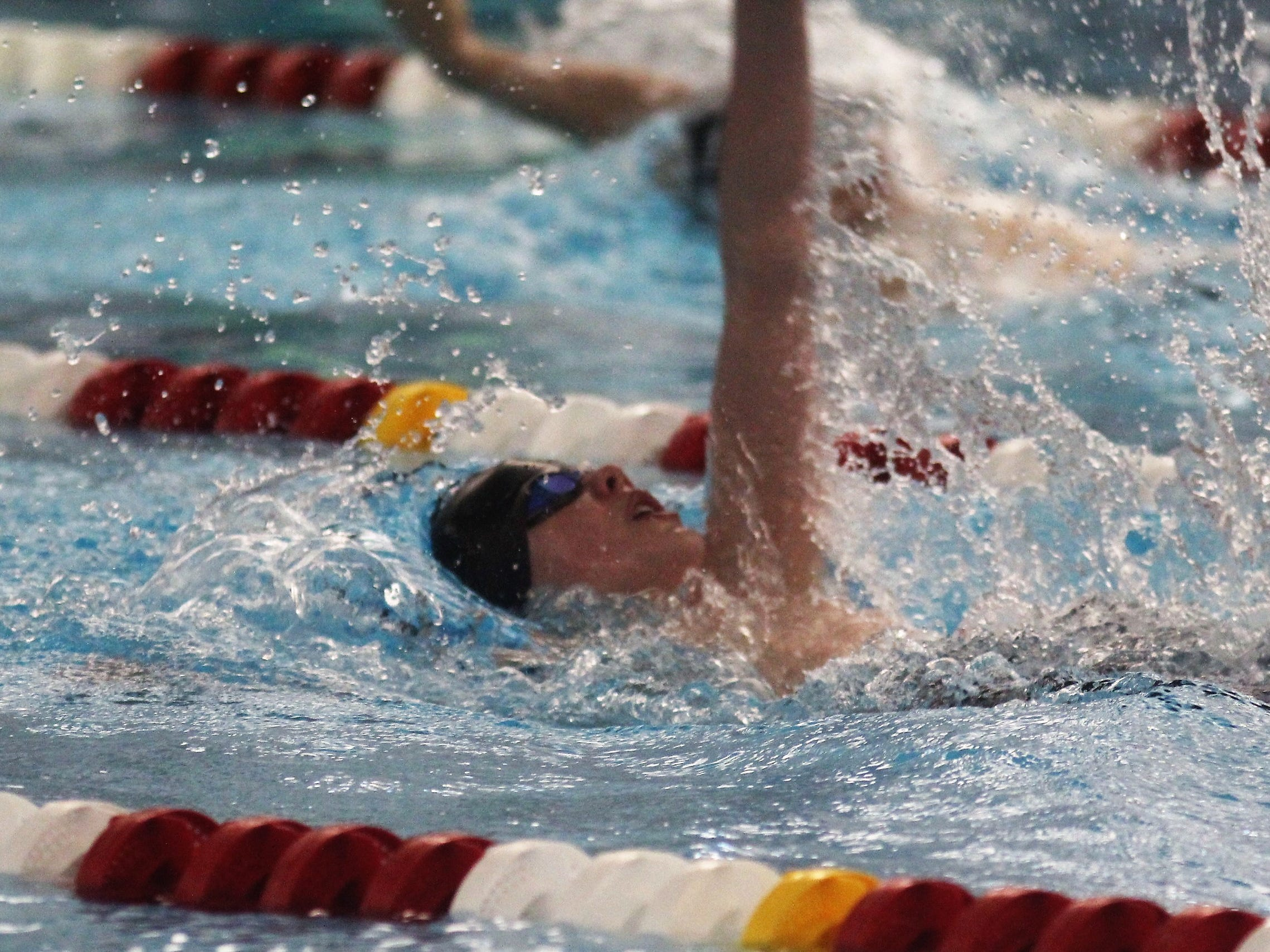 Covington Latin freshman Liam Connelly in the 200 IM during the KHSAA state boys swimming and diving championship Feb. 22, 2019 at the University of Louisville.